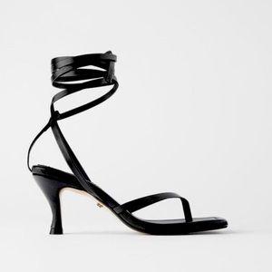 Zara White Leather Square Toe Sandals
